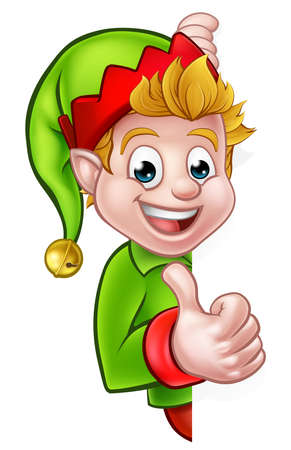 A cute cartoon Christmas elf peeping around sign and giving a thumbs up
