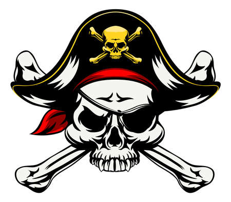 A skull and crossbones pirates jolly roger sign in pirate clothes eye patch and pirate hat