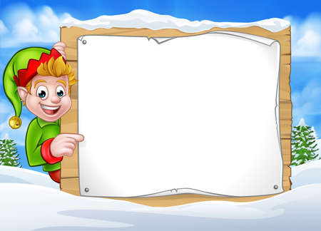 Christmas elf cartoon character in winter snow scene landscape peeking around wooden scroll sign and pointing