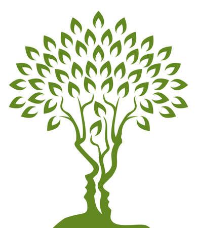 Drzewo złudzenie optyczne utworzona z mężczyzny i womans twarze projekt koncepcyjny
