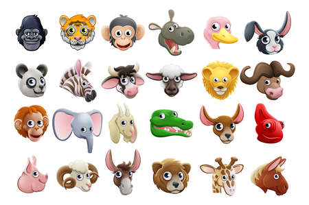 Cute friendly cartoon animal character faces icon set