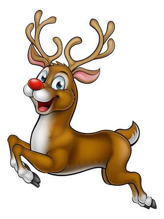 A happy cute cartoon Christmas Santas red nosed Reindeer running along