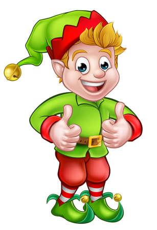 A cute cartoon Christmas elf giving a thumbs up Illustration
