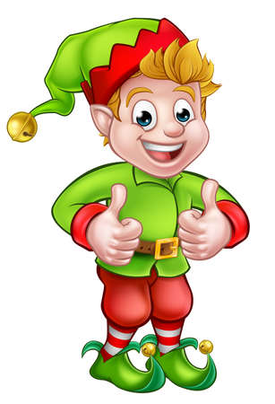 A cute cartoon Christmas elf giving a thumbs up Vectores