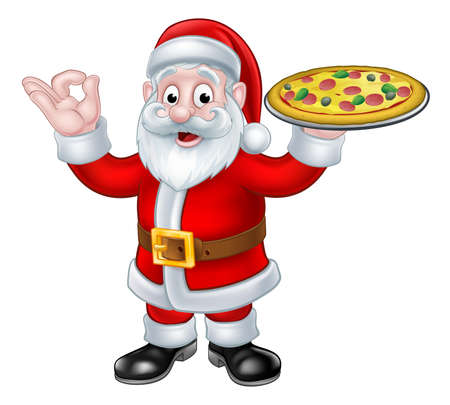 Santa Claus Christmas cartoon character giving an okay or perfect sign and holding a plate of pizza