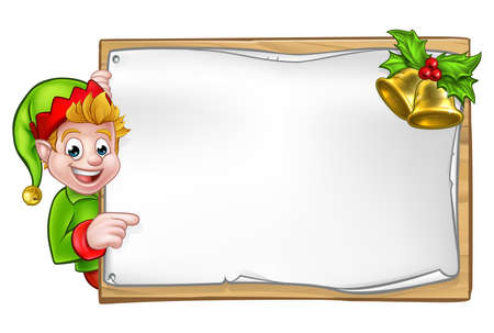 Christmas elf cartoon character peeking around wooden scroll sign with gold bells and holly and pointing