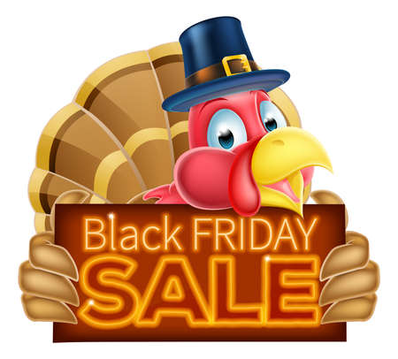 A Pilgrims hat Thanksgiving cartoon turkey holding a Black Friday Sale sign Illustration