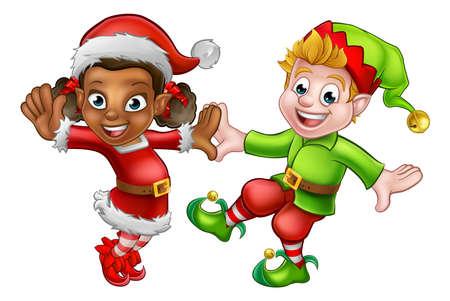 Twee dansende cartoon kerst elfen Santas kleine helpers Vector Illustratie