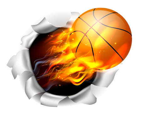 An illustration of a burning flaming basketball ball on fire tearing a hole in the background