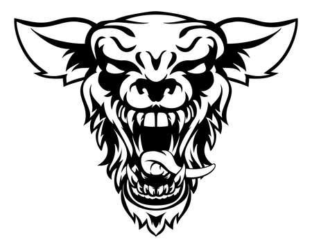 Een cartoon betekenen op zoek wolf of werewolf sporten mascotte schepsel dier karakter