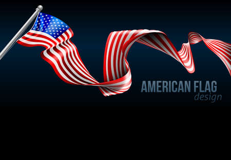 An American flag ribbon background design graphic