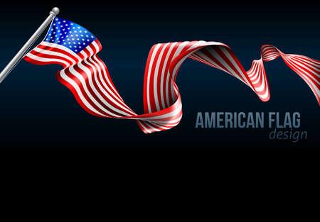 Un gráfico de diseño de antecedentes de la cinta de la bandera americana
