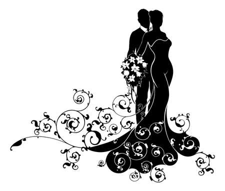Wedding couple bride and groom husband and wife in silhouette, the bride in a bridal wedding dress gown holding a floral bouquet of flowers and an abstract floral pattern