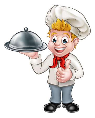 漫画のシェフやパン屋の文字プレート クローシュ ドーム型トレイを押し親指をあきらめて