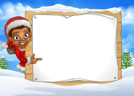 Christmas elf cartoon character in Santa hat peeking around wooden scroll sign in winter snow scene landscape and pointing Иллюстрация