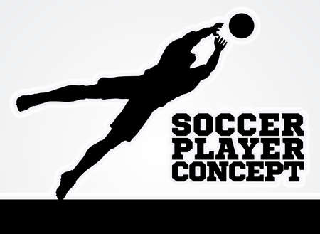 A stylised illustration of a silhouette soccer football player keeper saving a goal diving catching the ball
