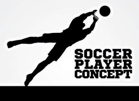 Een gestileerde afbeelding van een silhouet voetbal speler keeper het opslaan van een doelpunt duik de bal te vangen