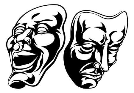 劇場の喜劇と悲劇のマスクのイラスト  イラスト・ベクター素材