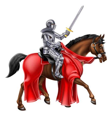 Een ridder met een zwaard omhoog tijdens het rijden zijn paard