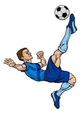 Un personnage de dessin animé de joueur de football de football bottant le ballon