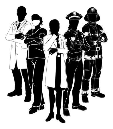 Silhouette emergency rescue services worker team with male and female police, fireman and doctors