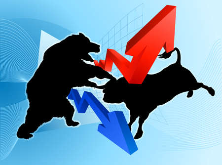Stock market concept of a silhouette bear fighting a bull mascot character in front of a financial or profit graph Çizim
