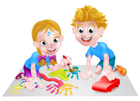 Cartoon boy and girl having fun with paints and blocks