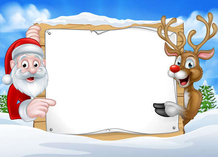 A happy Christmas reindeer and Santa cartoon characters in a winter scene peeking around pointing at a sign