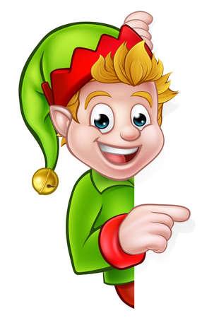 A cute cartoon Christmas elf peeping around sign and pointing 일러스트