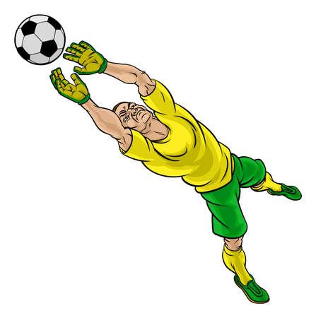 A soccer football player goalkeeper cartoon character saving a goal