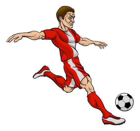 A cartoon football soccer player character kicking the ball