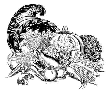 새겨진 에칭 빈티지 목 판화 스타일에서 신선한 농산물 수확의 전체 풍요의 풍요의 뿔 나팔 일러스트
