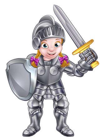 Une fille de chevalier dans son costume d'armure tenant une épée et un bouclier