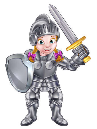 A cartoon knight girl in her suit of armour holding a sword and shield