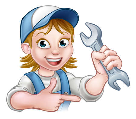 A plumber or mechanic handyman cartoon character holding a spanner and pointing Stock Illustratie