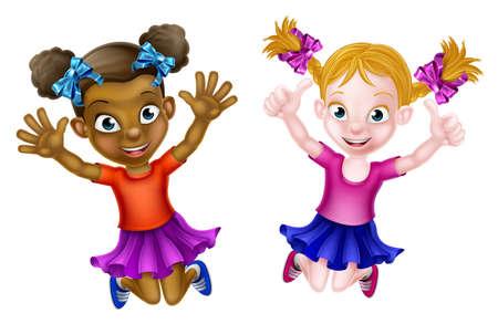Schwarze Ein weißes Jungs zwei Mädchen ein mädchen