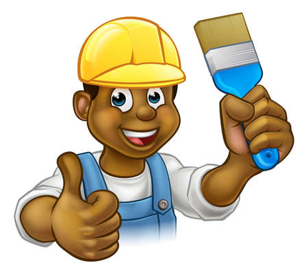 A black painter decorator handyman cartoon character holding a paintbrush and and giving a thumbs up