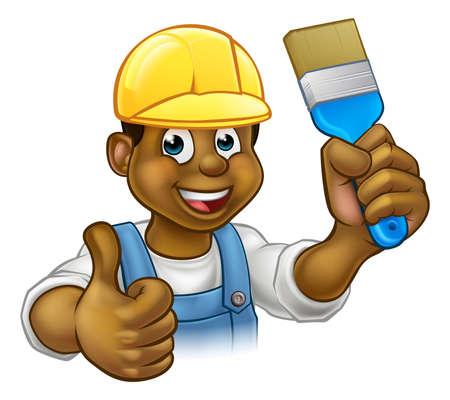 Un personaje de dibujos animados de manitas decorador pintor negro sosteniendo un pincel y dando un pulgar hacia arriba