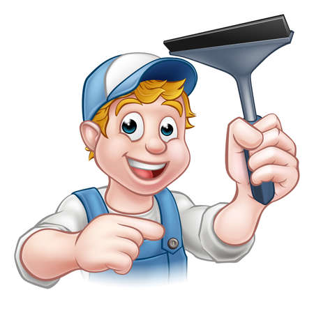 A handyman window cleaner cartoon character holding a squeegee and pointing Standard-Bild - 121753180
