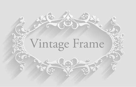 A vintage white Victorian style background frame design Illustration