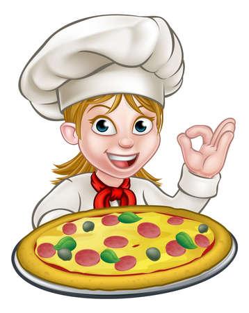 Cartoon żeńska kobieta kucharz postać trzyma pizzę i dając doskonałe porządku gest gotować pyszne