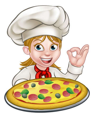 Cartoon female woman chef character holding a pizza and giving a perfect okay delicious cook gesture