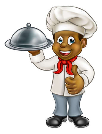 Cartoon black chef or baker holding a silver cloche food meal plate platter and giving thumbs up Vectores