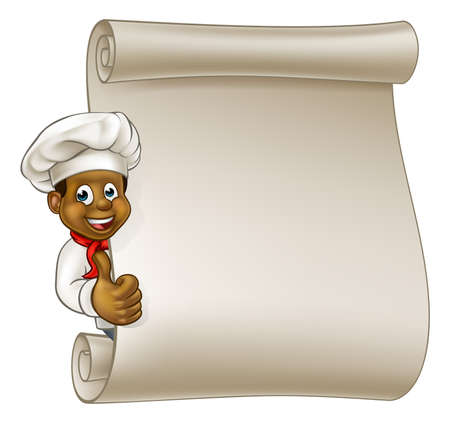 Cartoon black chef or baker character giving thumbs up and peeking around sign or scroll menu