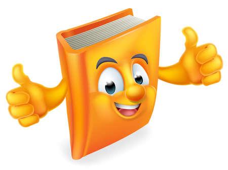 Una educación libro lindo mascota del personaje de dibujos animados feliz con un pulgar hacia arriba
