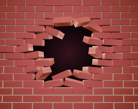 A breaking brick wall being blown apart