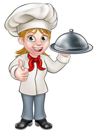 Cartoon vrouw chef-kok of bakker die een zilveren cloche maaltijd plaat schotel en het geven van thumbs up