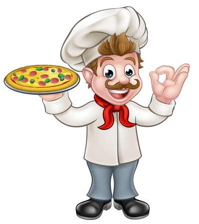 アニメキャラ シェフ ピザを押しながら完璧な [ok] おいしい料理のしぐさ  イラスト・ベクター素材
