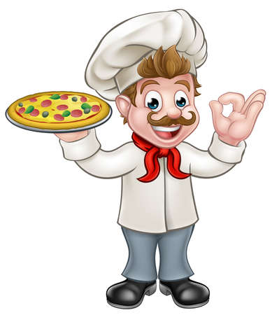 Cartoon chef character holding a pizza and giving a perfect ok delicious cook gesture Ilustracja
