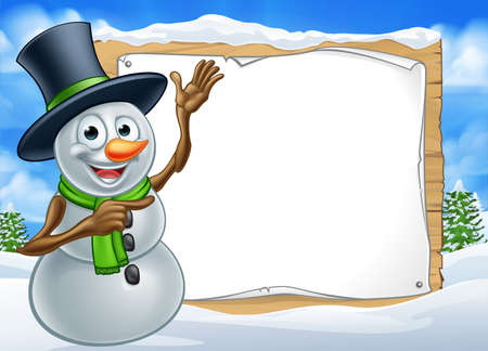 A happy Christmas snowman cartoon character in a winter scene pointing at a sign Illustration